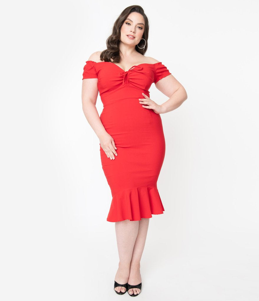 Collectif Mainline Sasha Red Fishtail Dress
