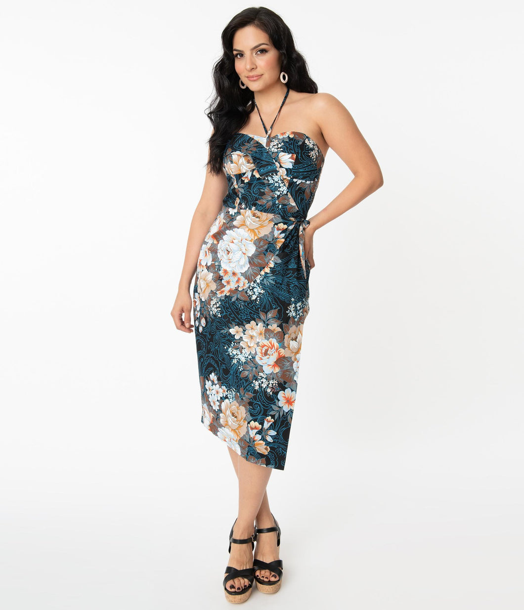 Unique Vintage Navy Floral Sarong Wiggle Dress