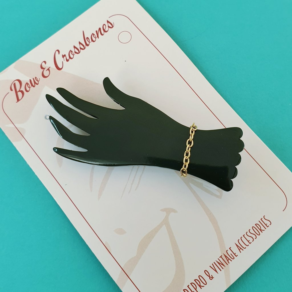 Bow & Crossbones Lillianna Hand Brooch - Black