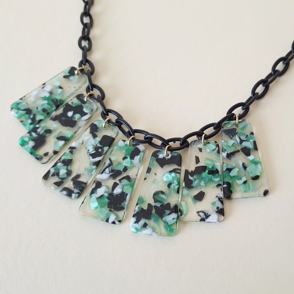 Bow & Crossbones Marcella Necklace - Green, Black & White