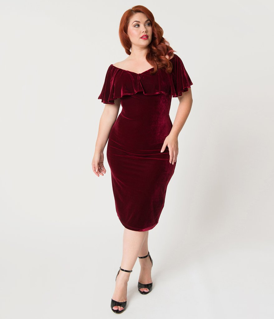 Unique Vintage Sophia Velvet Wiggle Dress - Burgundy
