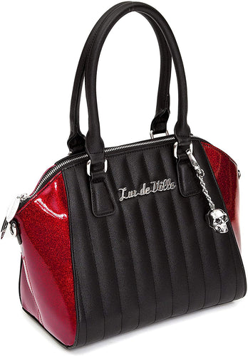 Lux de Ville Lady Vamp Handbag - Black Matte with Crimson Sparkle