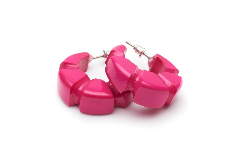 Splendette Iris Pink Heavy Carve Bakelite Hoop Earrings