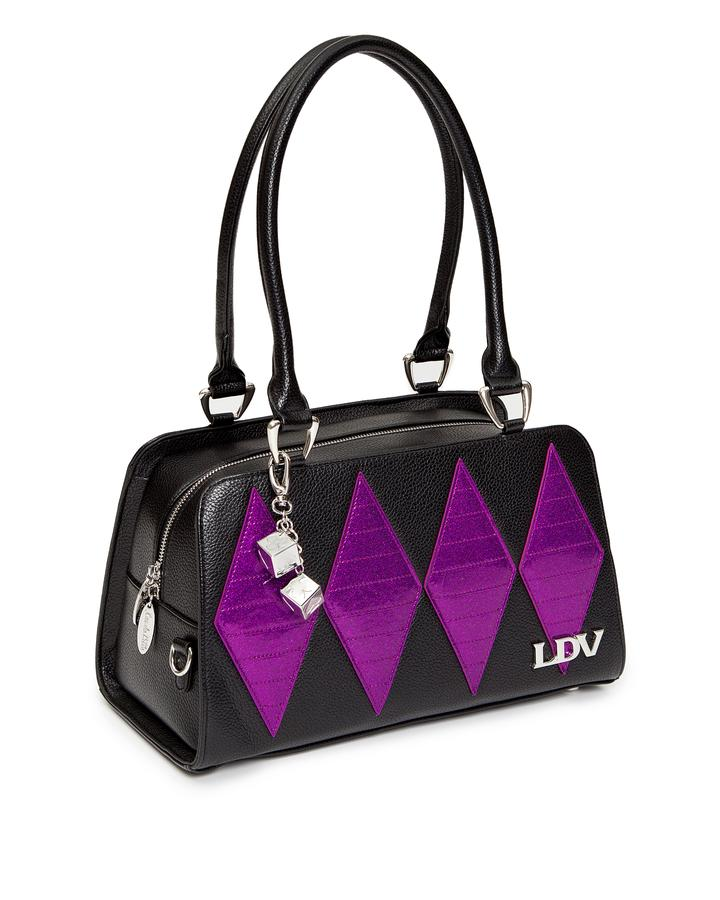 Lux de Ville High Roller Handbag - Black Matte with Electric Purple Sparkle