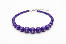 Splendette Violet Carved Bead Necklace