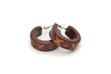 Splendette Walnut Carved Hoop Earrings