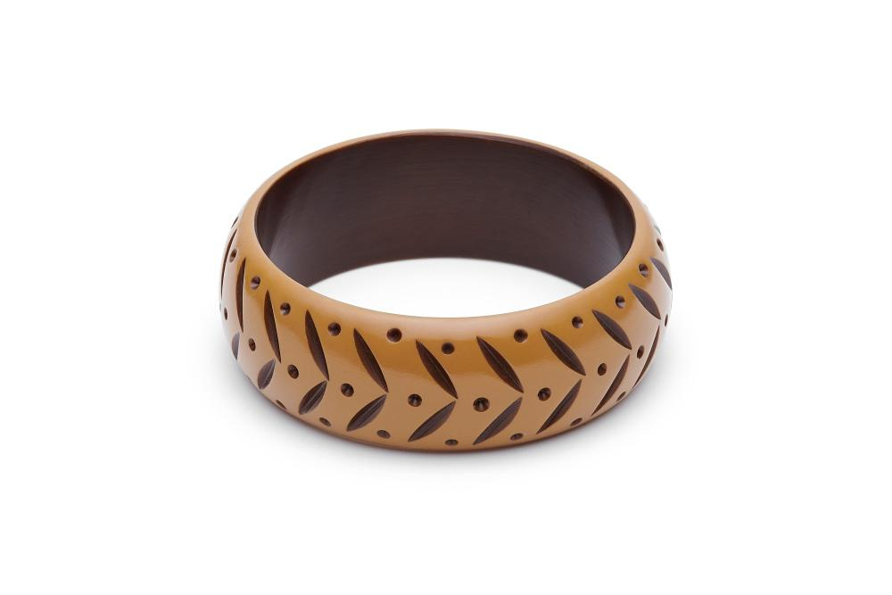 Splendette Wide Almond Carved Bangle - Duchess