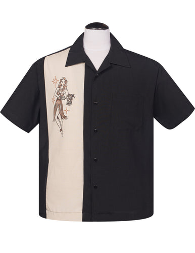 Steady Mai Tai Mirage Bowling Shirt - Black