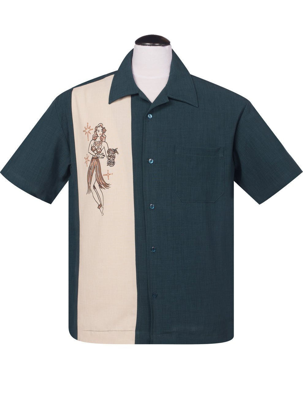 Steady Mai Tai Mirage Bowling Shirt - Teal