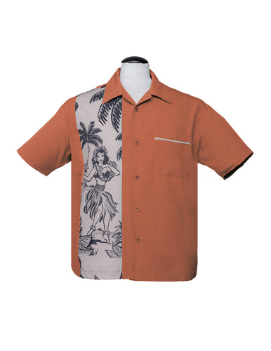 Steady Leilani Bowling Shirt - Rust