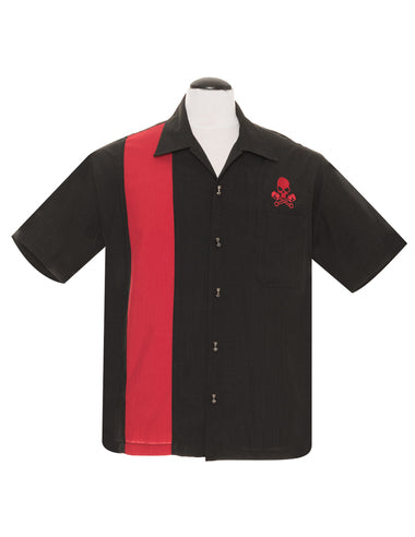 Steady Clothing Skull Piston Button Up in Black/Red