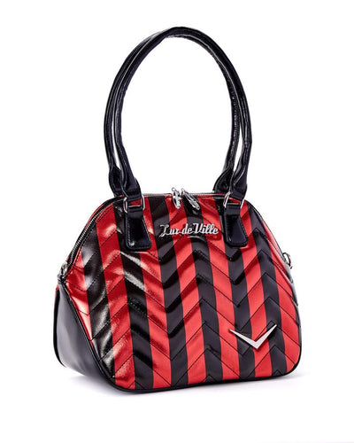 Lux de Ville Chevron Queen Red Metallic Handbag with Black Stripes