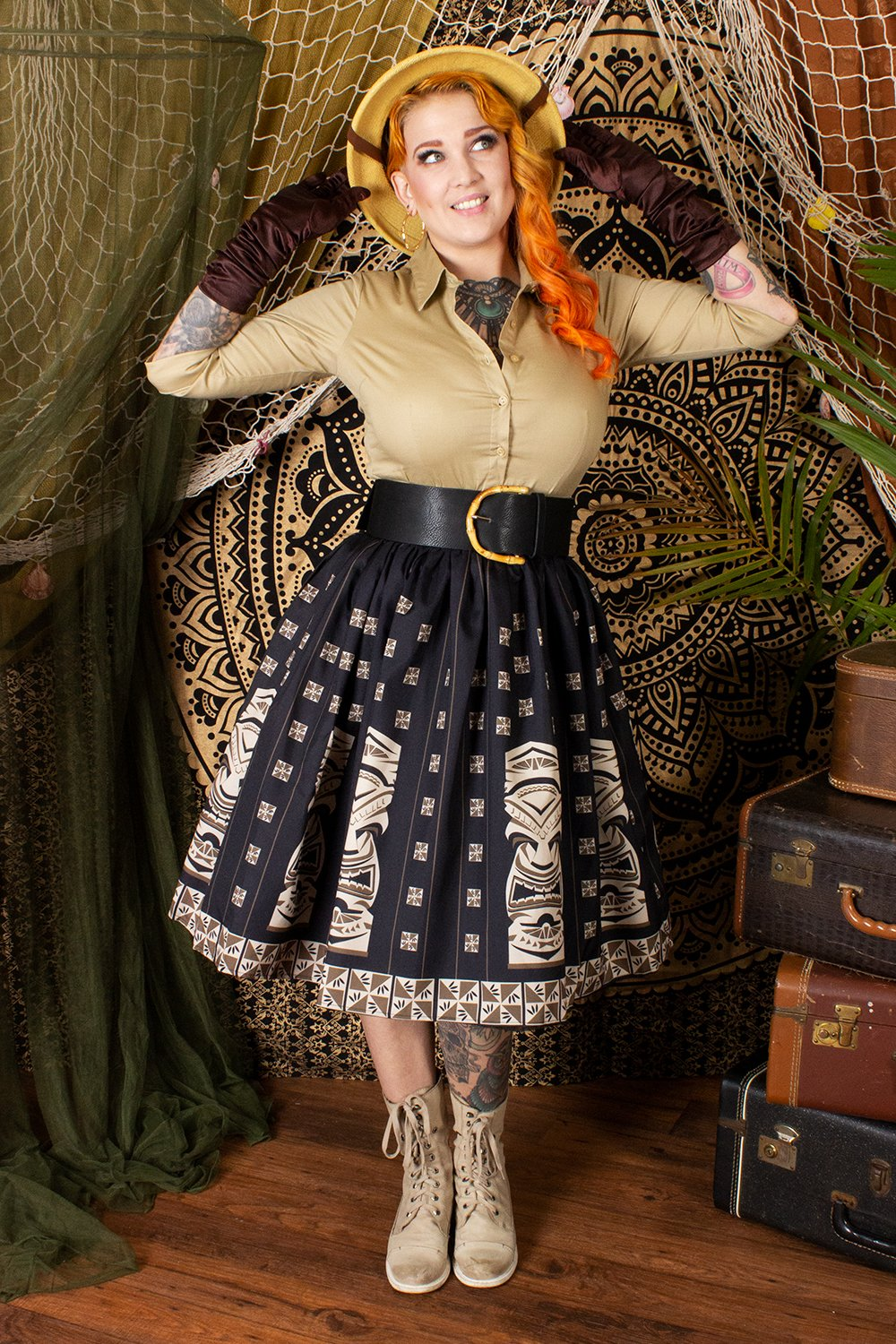 The Oblong Box Shop Brown Sneaky Tiki Novelty Print Gathered Skirt