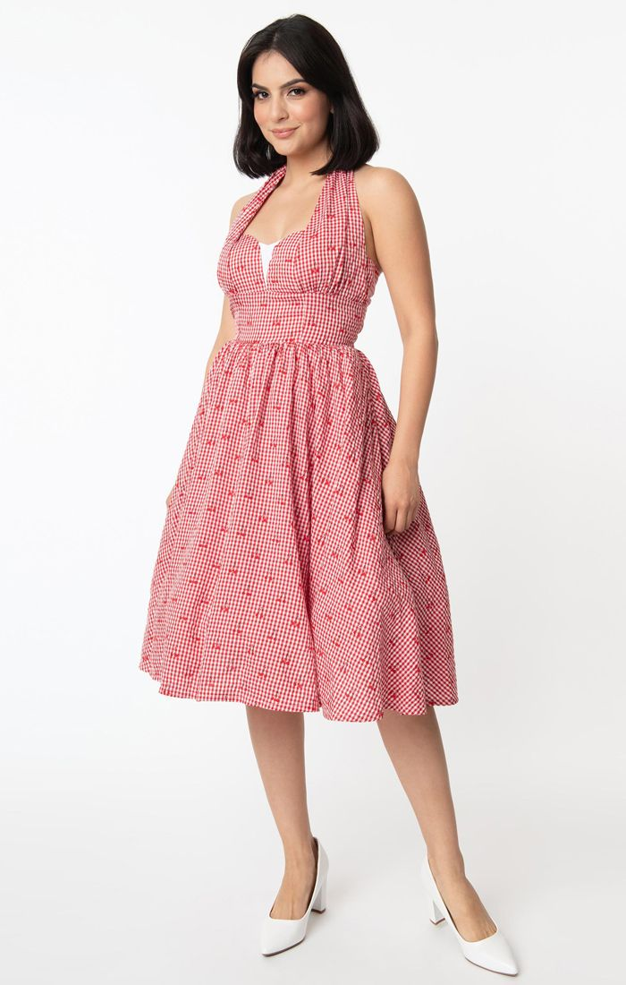 Unique Vintage Sheila Gingham & Cherry Swing Dress - Red