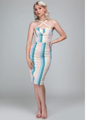 Collectif Mainline Tea Cup Stripe Kiana Pencil Dress