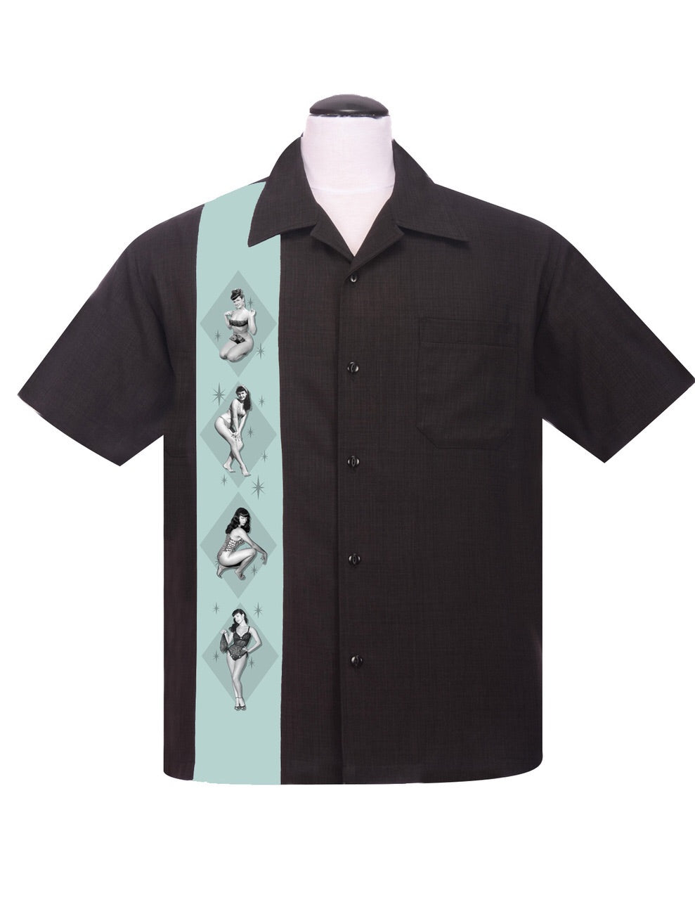 Steady Clothing Bettie Page Pinup Panel Button Up