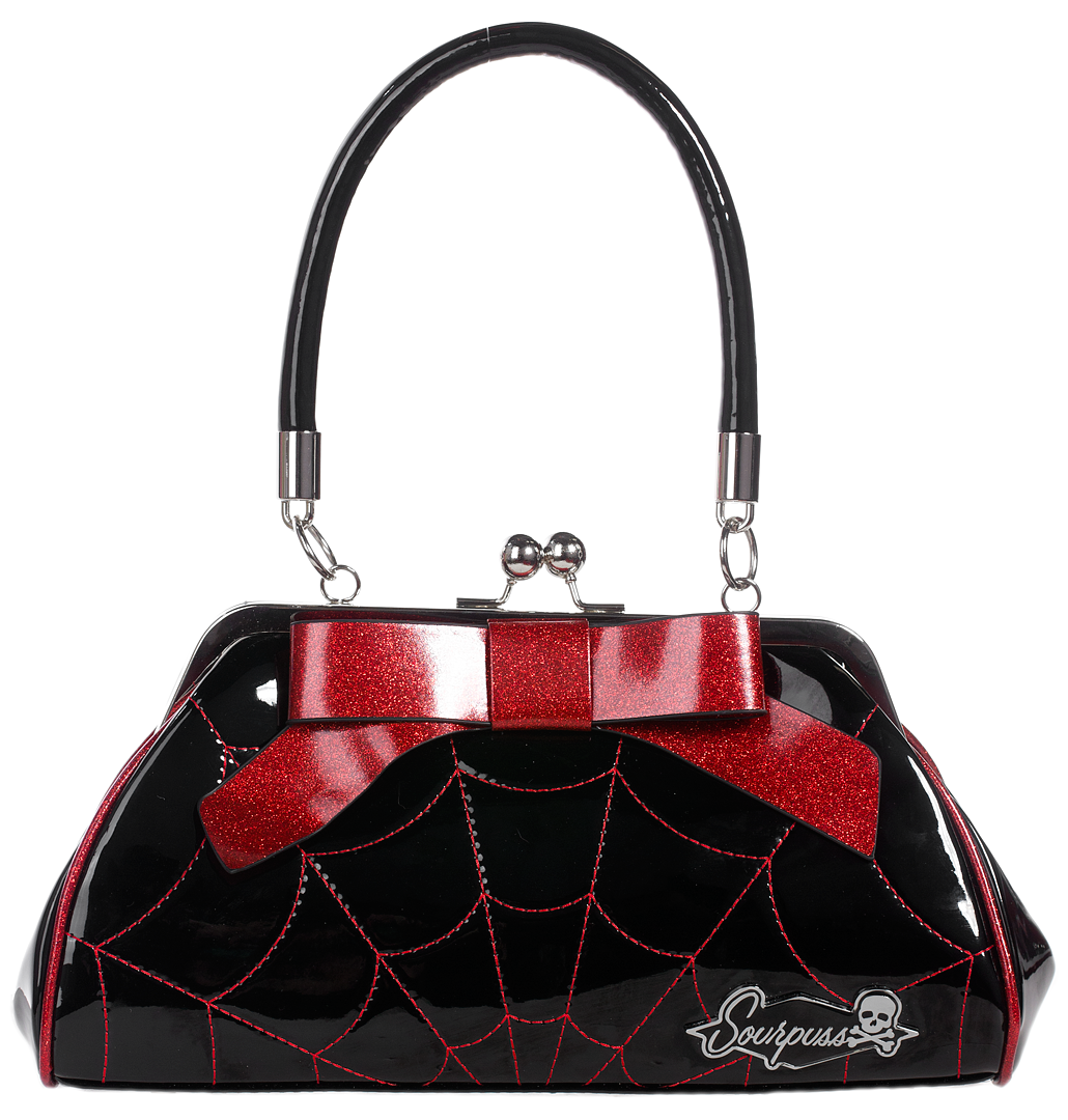 Sourpuss Spiderweb Floozy Purse in Black/Red