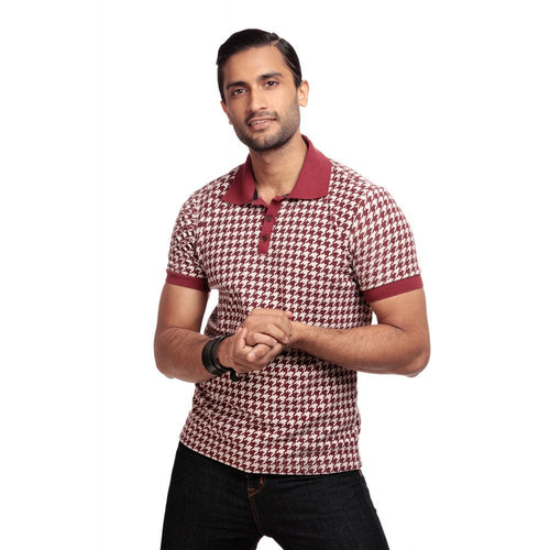 Collectif Pablo Dogtooth Mens Polo Shirt