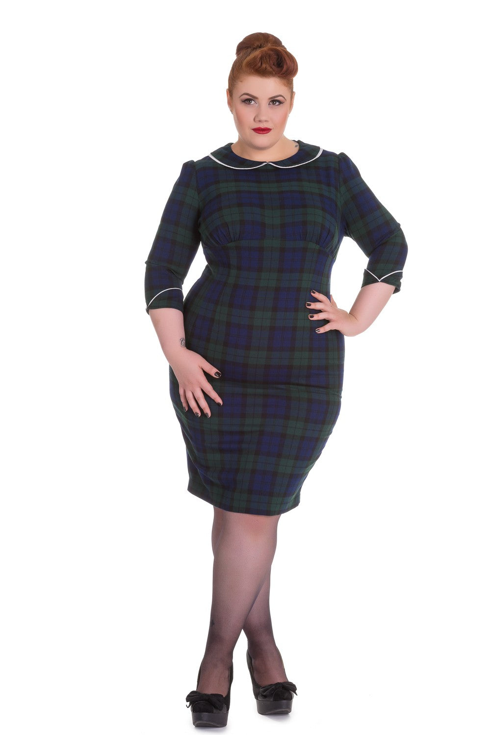 Hell Bunny Doralee Pencil Dress - Green