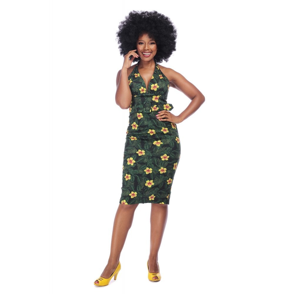 Collectif Mainline Ramona Tropical Hibiscus Pencil Dress