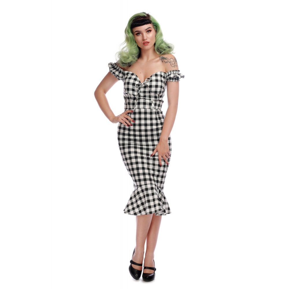 Collectif Mainline Sasha Gingham Fishtail Dress