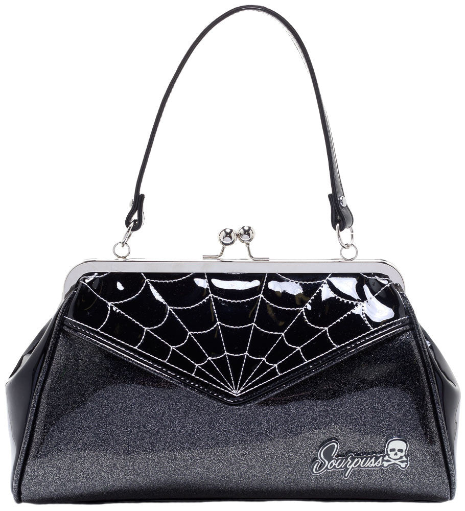 Sourpuss Spiderweb Backseat Baby Purse in Black/Silver
