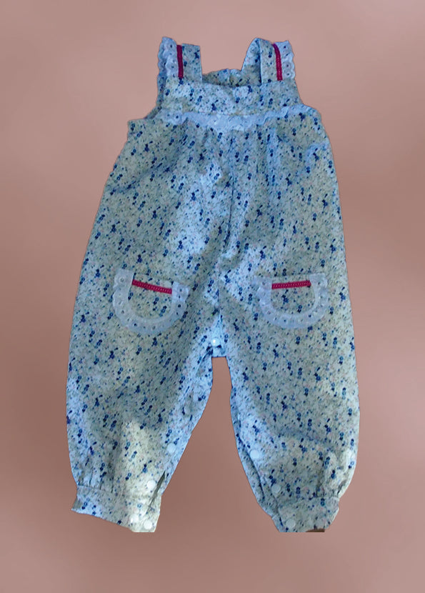 Overalls - Pinwale Cord with Lace Trim