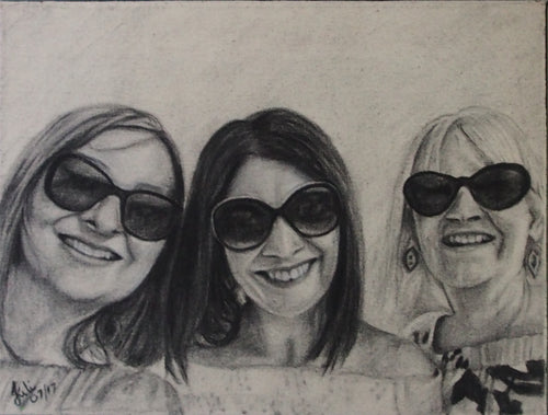 Portraits - 40cm x 50cm charcoal on canvas with 3 people