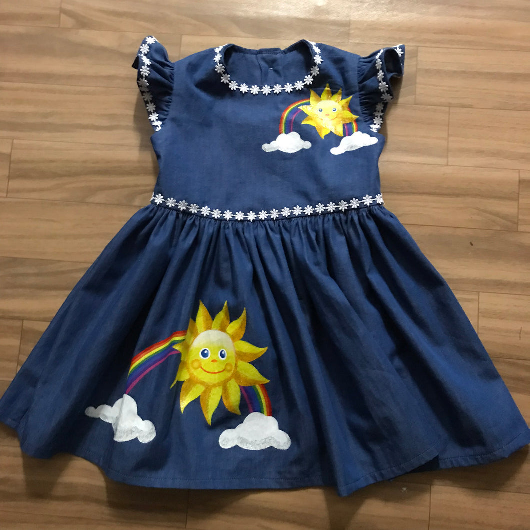 Hand-painted denim dress size 2