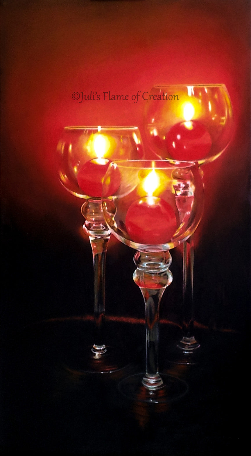 Red Candles. Oil Painting.