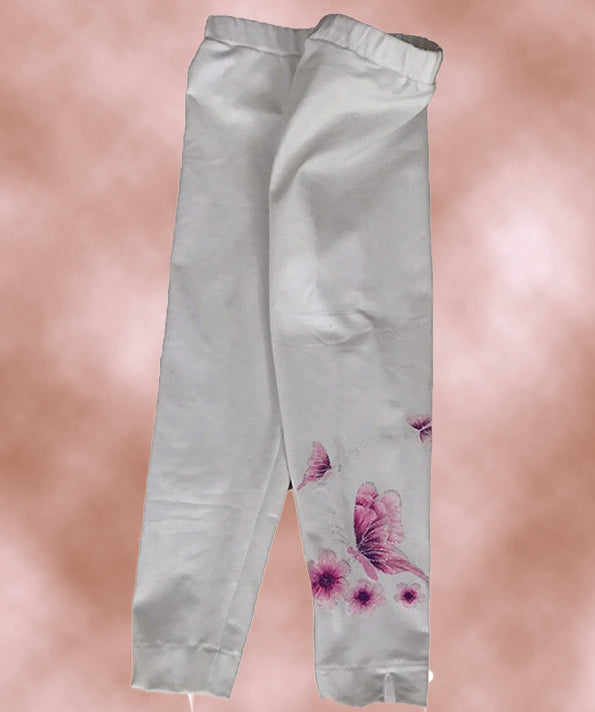 White Hand-Painted Leggings Size 3