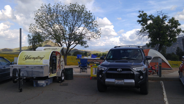 Our campsite at the 2017 Lake Perris Teardrop Gathering