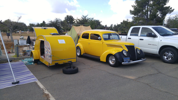 Another classic truck and teardrop camper at the 2017 Lake Perris Teardrop Gathering