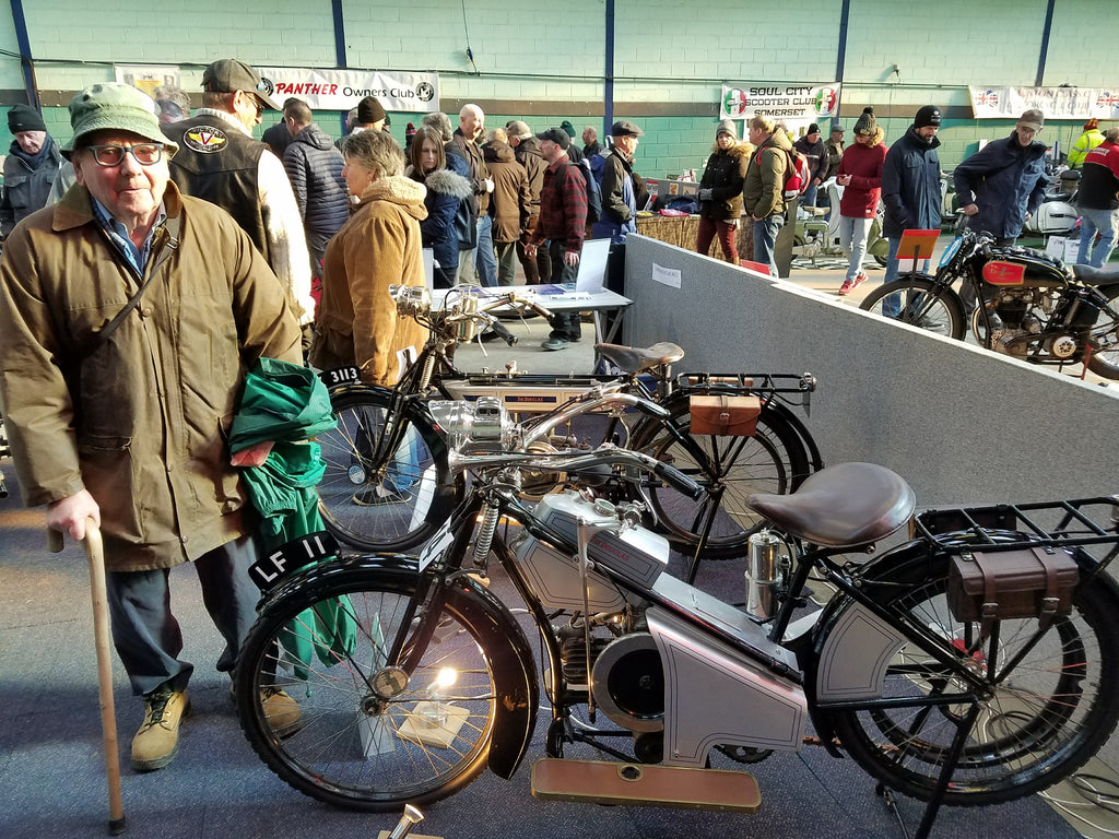 Enjoying a cold day out at the Bristol Classic MotorCycle Show