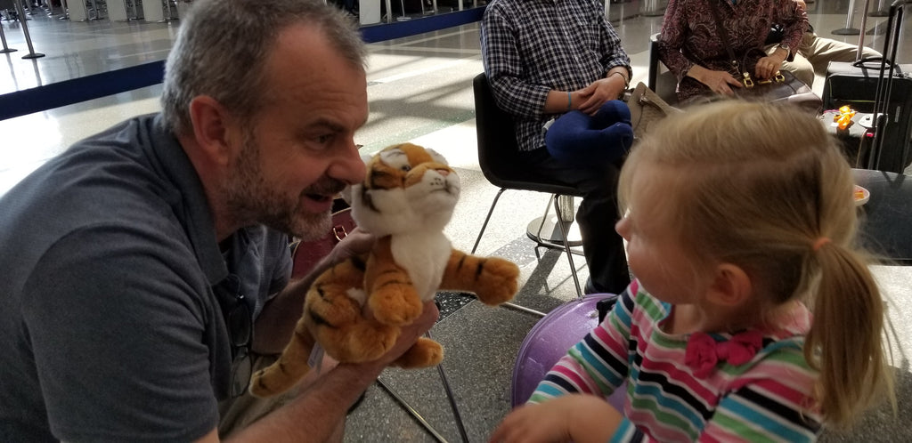 Xaria with her Tiger Cuddly Toy - LAX Airport Before Flying to Nanjing