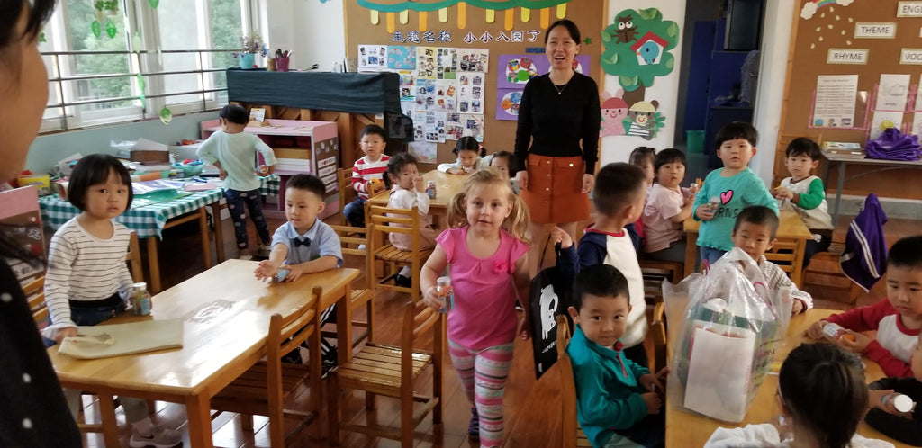 Xaria Excited to be in School at the Yueya Lake Kindergarten