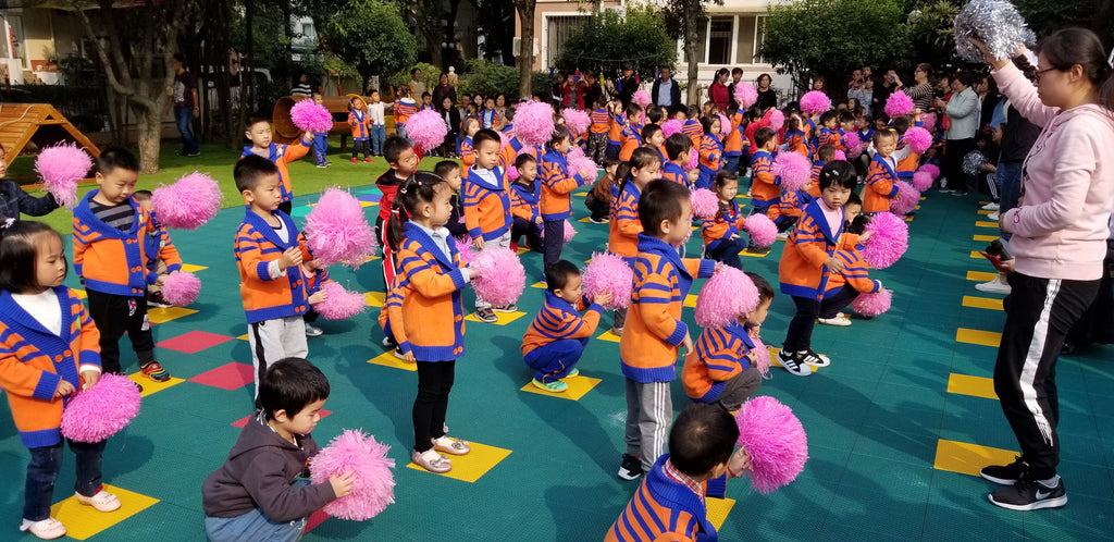 Children performing at the Yueya Lake Kindergarten, Nanjing, China