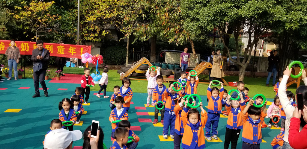 Xaria performing with her class at Yueya Lake Kindergarten, Nanjing, China