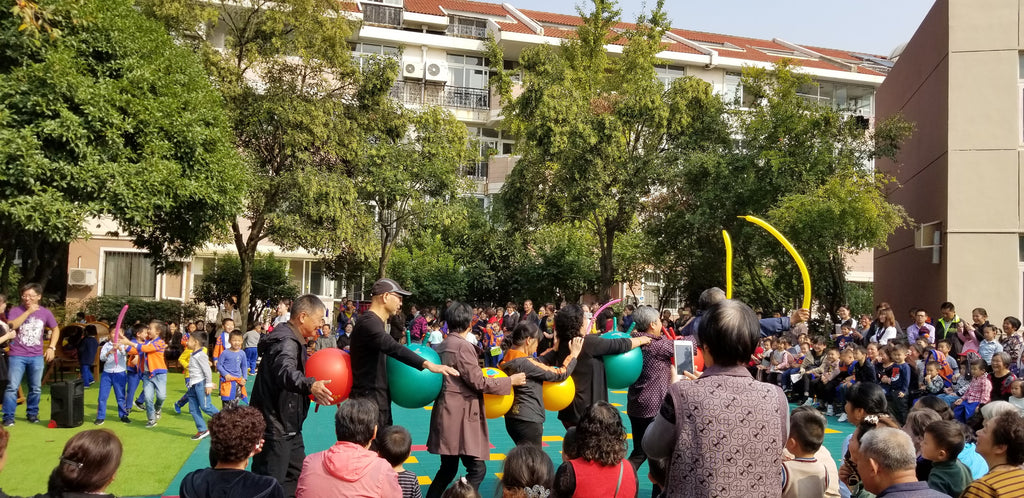 Grandparents performing during the Chongyang Festival at Yueya Lake Kindergarten, Nanjing, China