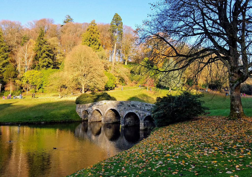 The Turf Bridge at Stourhead Gardens in Autumn