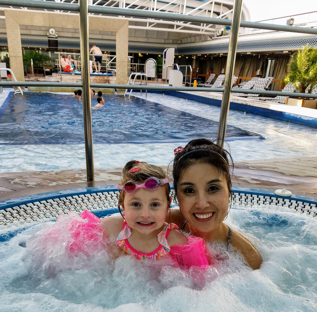 Yafei and Xaria at the Lido Pool, Deck 9, Eurodam Holland America