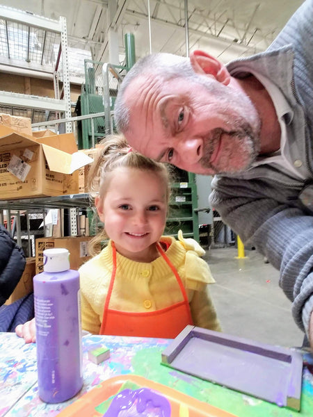 Xaria and Dad Having Fun at a Home Depot Kids Workshop