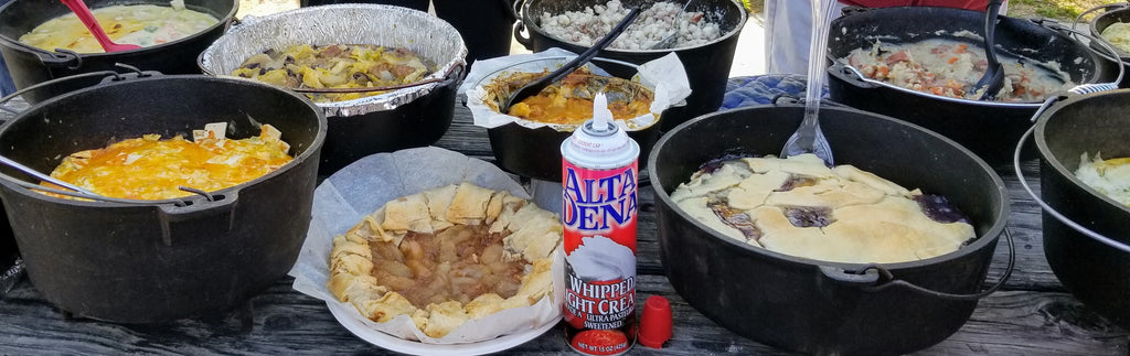 Dutch oven favorites at the Lake Perris Teardrop Gathering