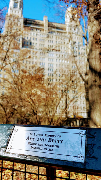 Dedication on a Park Bench in Central Park, New York City