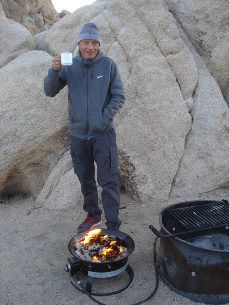 Portable gas fire at Joshua Tree National Park