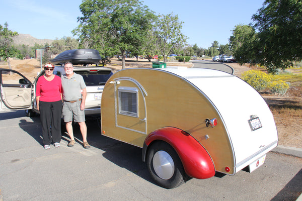 Judy and Paul with their 2003 Teardrop modeled on a 1947 Kit Trailer
