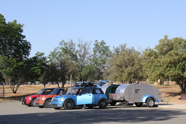 Even a Mini can tow a teardrop - 2016 Lake Perris Teardrop Gathering