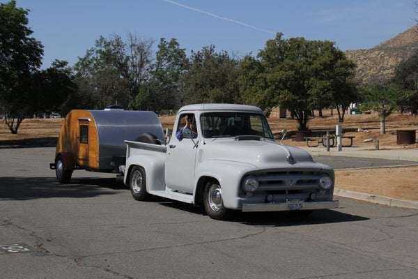 Many teardrops at the 2016 Lake Perris Teardrop Gathering come with customer trucks