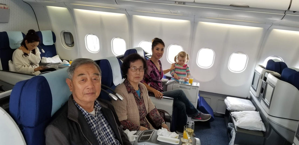 The Family Settled in Business Class on the China Eastern Flight from LAX to Nanjing