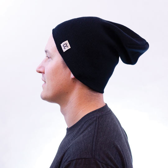 the crew collective - black slouchy beanie